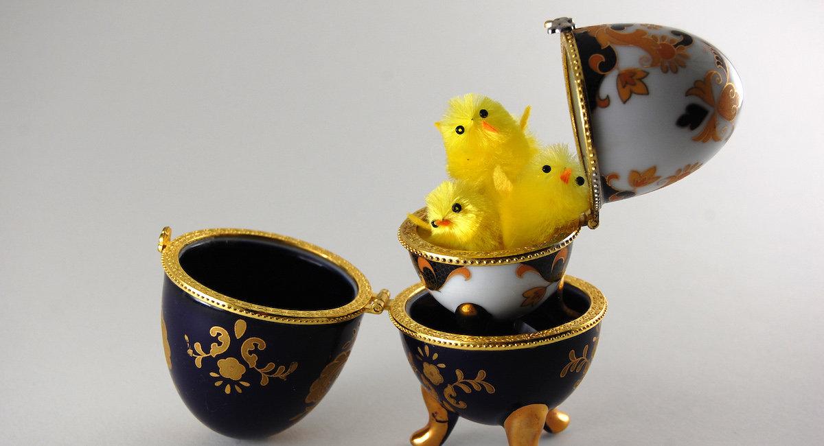 Easter Eggs, Faberge Egg With Three Little Chicken