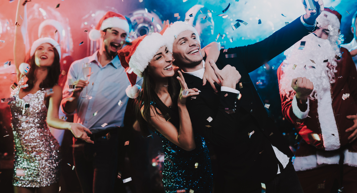 Happy People Taking Selfie On New Year Party.